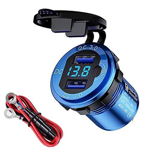 Cargador rápido QC3.0 Toma para cargador de coche doble USB con pantalla de tensión del botón de conmutación Apto para motocicletas de coche de 12 V/24 V (azul)