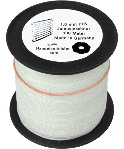 Handelsminister.com Jalousieschnur Plisseeschnur 100m Zugschnur für Plissee Raffrollo Jalousie Ersatzschnur, Farbe:weiß, Durchmesser:1.0mm
