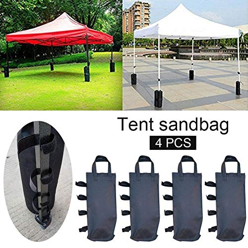 QueenHome Gazebo Sand Weights Gazebo Sandbags 4pcs Support Fixed Tent Bag Inc Twin-leg Zip Top Sand Bag Weights For Anchoring Gazebos, Tents, Sun Shades, Trampolines & Kids Garden Toys Many More