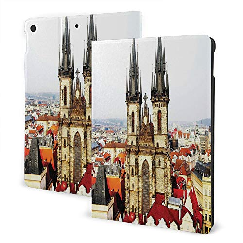 Case Fit for iPad 8th/7th Gen, Ipad Air3 & Pro Print Theme - Wanderlust Decor Collection Bird Eye Prague View And Tyn Church Castle Houses Autumn Old Town Square Picture Grey Ivory Burgundy