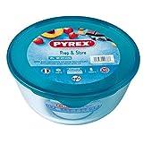 Pyrex 180P000 Ciotola di vetro ad alta resistenza con coperchio, Trasparente/Blu, 2 L