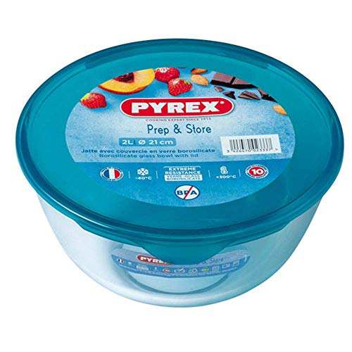 Pyrex 180P000 - 2 Liter Bowl With Lid from Borosilicate Glass Stain Resistant Assorted