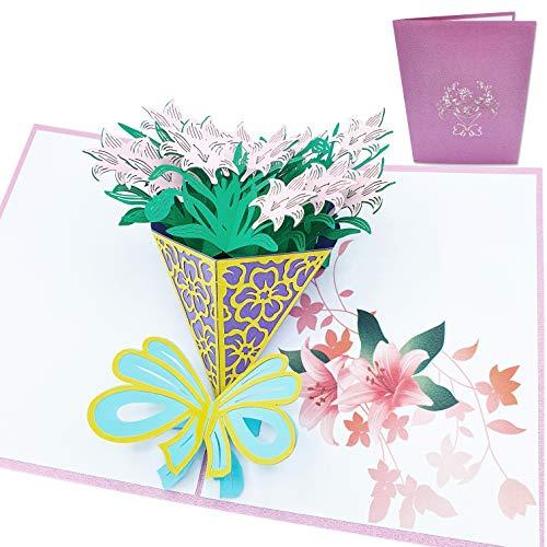 Tarjeta de felicitación 3D de amor - Gran Ramo de Flores Colorido - Postal 3D de Amor para San Valentín, aniversario, pareja, novio, novia, padre, madre, hijo, hija