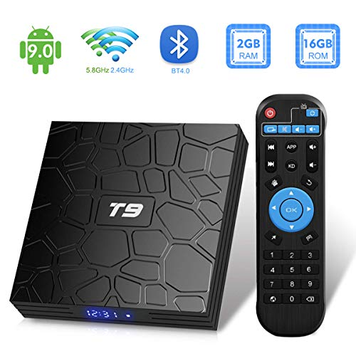 Android TV Box,T9 Android 9.0 TV Box 2GB RAM/16GB ROM RK3318 Quad-Core Support 2.4/5Ghz WiFi BT4.0 4K 3D HDMI DLNA Smart TV Box