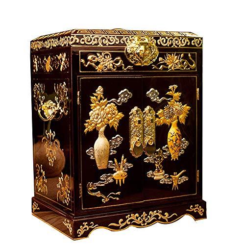 Laogg Chinoise Bijoux Boîte,Boîte à Bijoux Laque lumière Pingyao Push Stockage de Don Chinois de Maquillage boîte de Laque Armoire,Bijoux Boîte de Rangement