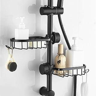 étagère de salle de bain douche noire panier de rangement étagère de rangement réglable robinet étagère de drainage cuisin...