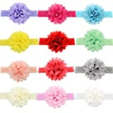 GUIFIER 12 piezas Diademas para bebés Bandas para la cabeza Diademas de encaje elástico de chifón bebé niñas diademas flores cintas para el cabello para Recién nacido niña Accesorios para el cabello