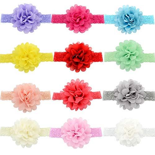GUIFIER 12 Stück Baby Mädchen Stirnbänder mit Blumen Babys Chiffon Stirnbänder Weiche dehnbare Spitze Haarbänder Stirnband Baby Mädchen Blumen Haarband baby für Babys Neugeborenes Kleinkinder Kinder