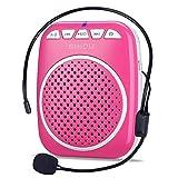 Amplificador de Voz portatil (W) con un microfono para guías Maestros Profesores Artistas animadores promotores de Ventas,etc (Color : Pink)