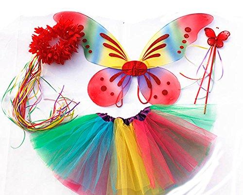 Tante Tina - Disfraz de Hadas Mariposa - Alas, Falda tutú, Varita mágica y Diadema - Multicolor con Diadema