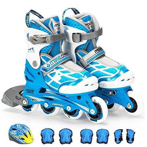 FACAIA Inline-Skates für Kinder, Rollschuhe mit Einstellbarer Größe, Profi-Rollschuhe Leichtgewicht für Teenager, ideal für Mädchen und Jungen, A2, L (2─4.5UK / 35─38EU)