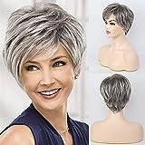 EMMOR Short Grey Human Hair Blend Wigs for Women,Natural Hair Daily Pixie Cut Wig, Softer/Finer/Lightweight