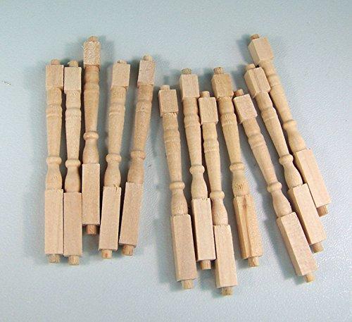 Unbekannt 12 St. Geländerstäbe aus Holz für 1:12 Puppenhaus, naturbelassen. 6,2 cm.