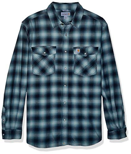 Carhartt mens Rugged Flex Hamilton Snap Front Plaid Flannel (Regular and Big & Tall Sizes) Button Down Shirt, Twilight, XX-Large Tall US