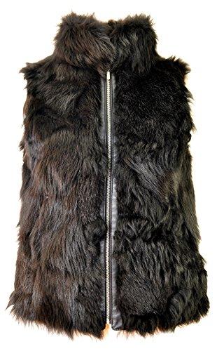 DX-Exclusive wear Damen Weste Fellweste Fuchspelz, Lederweste, Gilet, schwarz Fell KK-0027 (44)