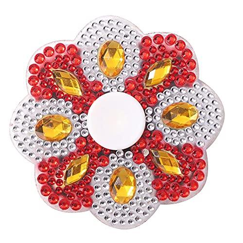 DIY Spot Drill Diamante Doble Cara Colorido Mandala Dedo Spinning Gyro Descompresión Kits de Juguete Impreso Rhinestone Mano Spinner Alivio del estrés Juguetes