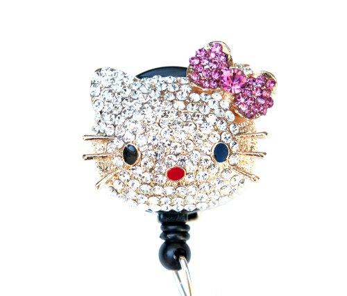 New Custom Bling Rhinestone 3D Hello Kitty Head w/Pink Crystal Bow Badge Reel Retractable ID Badge Holder
