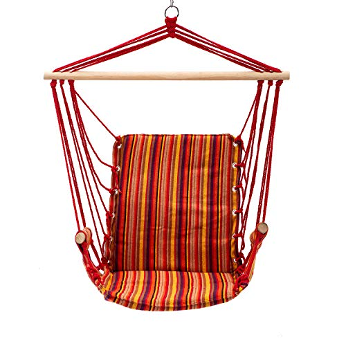 Bestmart Hanging Rope Quilted Hammock Chair Patio Cushion Seat Indoor/Outdoor Swing Chair (Orange-red)