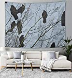 NiYoung Tapestry Wall Hanging, Black Crow Raven Bird Wall Tapestry with Art Nature Home Decorations for Living Room Bedroom Dorm Decor in 40x60 Inches
