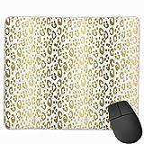 N\A Animal Print Gold Gold Cheetah Print Leopard Print Gold White Rectángulo Alfombrilla de ratón con Base de Goma Antideslizante Alfombrillas de ratón para Juegos y Oficina para PC y portátiles