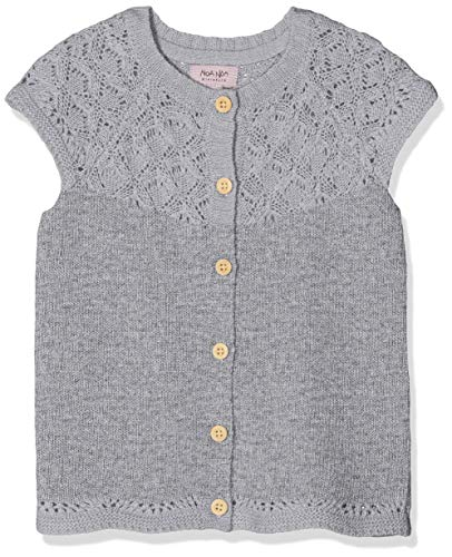 NOA NOA MINIATURE Noa Noa miniature Baby-Mädchen Wool Knit Weste, Grau (Grey Melange 5), 62 (Herstellergröße: 3M)