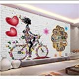 Lyqyzw 3D Fototapete Wohnzimmer Wandbild Mädchen Mit Dem Fahrrad Blume Bild Hintergrund Wand Vliestapete 300X200Cm