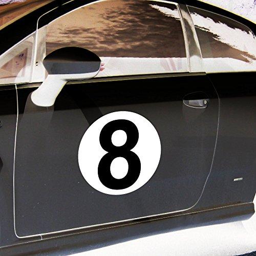 4 Aufkleber 20cm Sticker Startnummer 8 Racing Auto Start Nummer Zahl Ziffer Tor Halle Garage Werkstatt Müllkontainer
