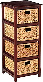 OSP Home Furnishings Seabrook 4-Tier Storage Unit with Natural Baskets Espresso