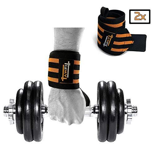 TAWFIT Fasce da Polso Polsiera per Palestra Professionale Regolabile per Sollevamento Pesi, Bodybuilding, Crossfit, Fitness (1 Paio)