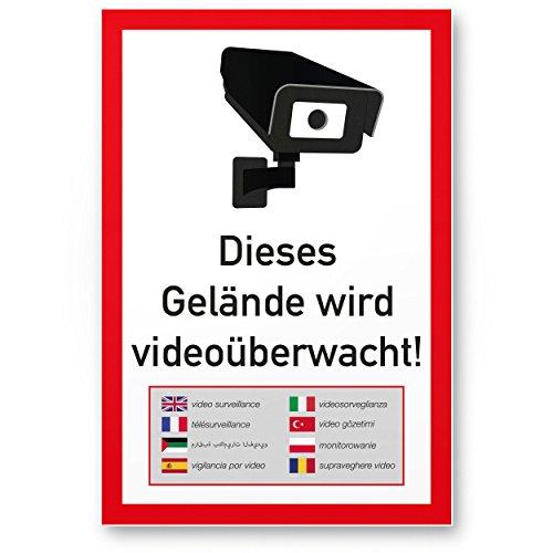 Komma Security Gelände Videoüberwacht mehrsprachig Kunststoff Schild 20 x 30 cm - Achtung Vorsicht Videoüberwachung - Hinweis Hinweisschild Videoüberwacht - Warnschild Warnhinweis Videoüberwachung