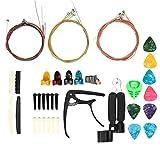 Herramienta de rasgueo, kit de accesorios de guitarra, tuerca superior inferior con cuerdas, reemplazo de cambio de guitarra de cejilla, para amantes de la música, kit de accesorios de