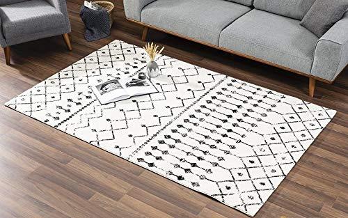 Vivense Astro - Alfombra para salón y dormitorio (160 x 230 cm), color crema y negro