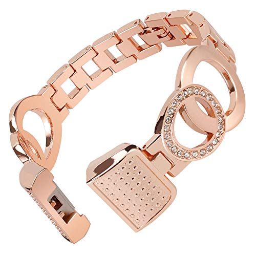 Nigaee for Fitbit Straps for Women Men, Adjustable Replacement Strap for Fitbit Metal Bands Bracelet with Bling Diamond Stainless Steel Wristbands Small Large, Bangle 1 Rose Gold