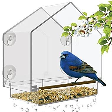 Nature's Hangout Window Bird Feeder with High Pitched Roof. Removable Sliding Tray & Drain Holes. Large Size, 100% Clear Acrylic. Easy to Clean. Great Gift. Guaranteed For All Weather