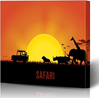 Onete Canvas Prints Painting Artwork 8x10 Tourists Journey Africa Theme Vacation Landscape Wildlife Sunset Animals Design Template Textures Wall Art Printing Home Bedroom Living Room Office Dorm