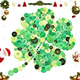 Keadic 1000PCS Buttons Favorite Findings Basic Resin Buttons 2 and 4 Holes for DIY Crafts Sewing Christmas Party Decorations Children's Manual Button Painting - Green