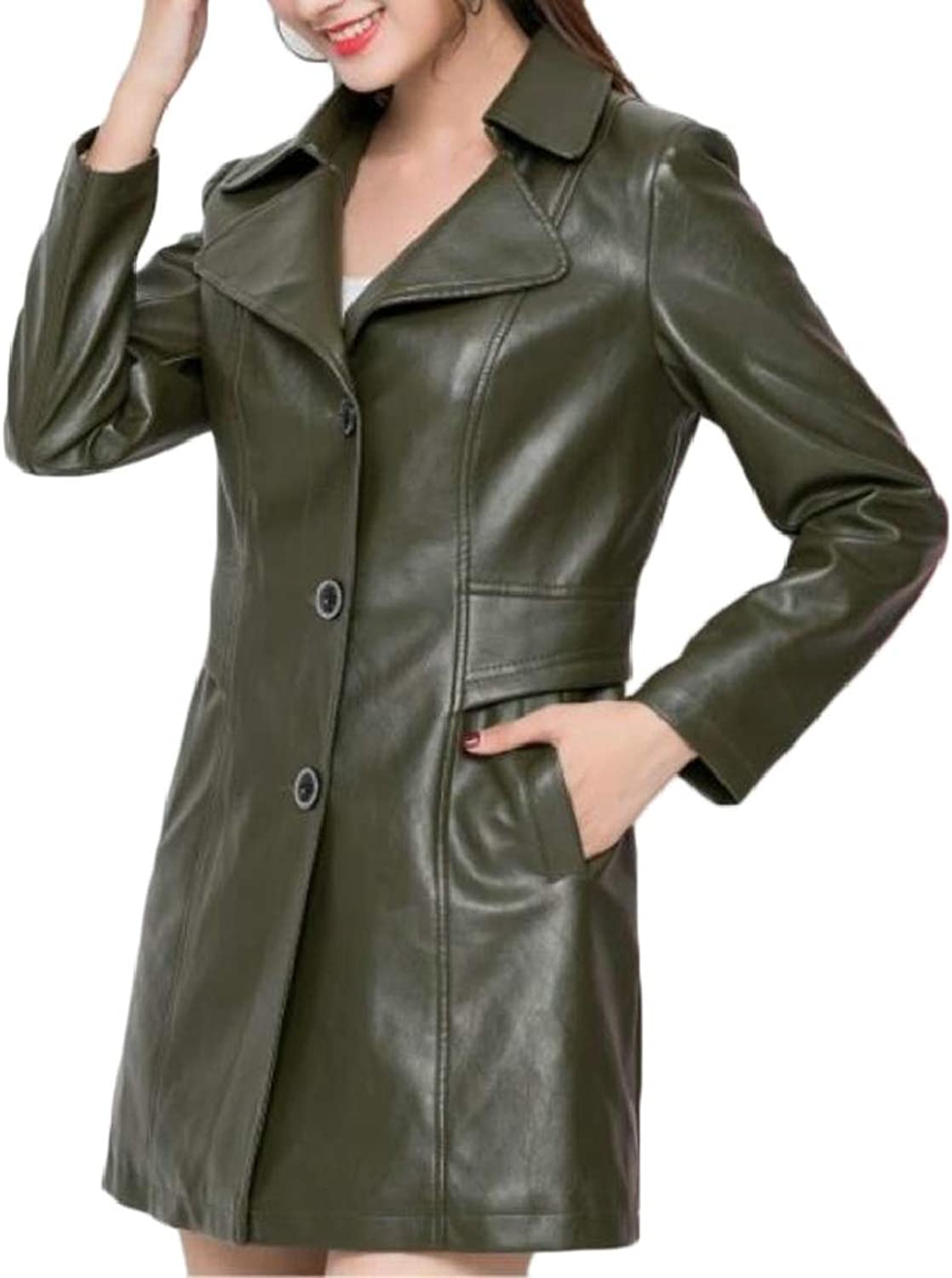 QDCACA Womens Mid Long Oversize PU Single Breasted Lapel Jacket Trench Coat