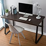 DYH Vintage Computer Desk, Wood and Metal Writing Desk, PC Laptop Home Office Study Table, Espresso 47 inch