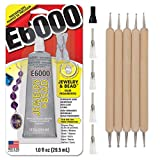 E6000 1-Ounce Jewelry and Bead Adhesive with 4 Precision Applicator Tips for Jewelry Pixiss Art Dotting Stylus Pens 5...