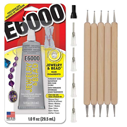 E6000 1-Ounce Jewelry and Bead Adhesive with 4 Precision Applicator Tips for Jewelry Pixiss Art Dotting Stylus Pens 5 pcs Set - Rhinestone Applicator Application Kit