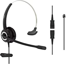 DailyHeadset RJ9 Corded Office Phone Noise Canceling Headset for MITEL Nortel Meridian Polycom Packet 8 ShoreTel Xblue Landline Telephone (Monaural)