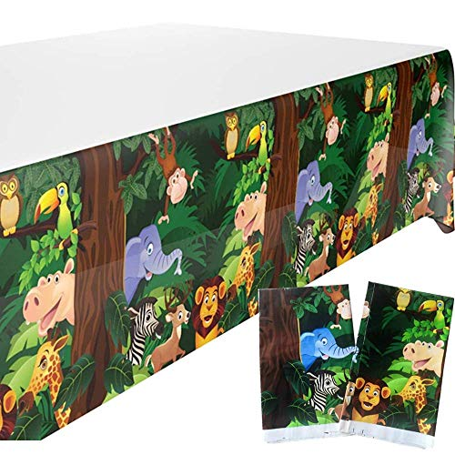 EFAY Zoo Animals Tablecloth for Jungle Safari Party Supplies, 2 Pack Disposable Animals Table Cover for Kids Jungle Theme Birthday Party Decoration