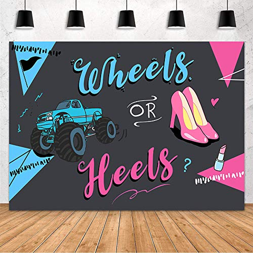 MEHOFOND Heels or Wheels Gender Reveal Backdrop Blue or Pink Boy or Girl Baby Shower Party Decoration Black Photography Background Banner of Newborn Baby Cake Table Photo Props Studio Supplies 7x5ft