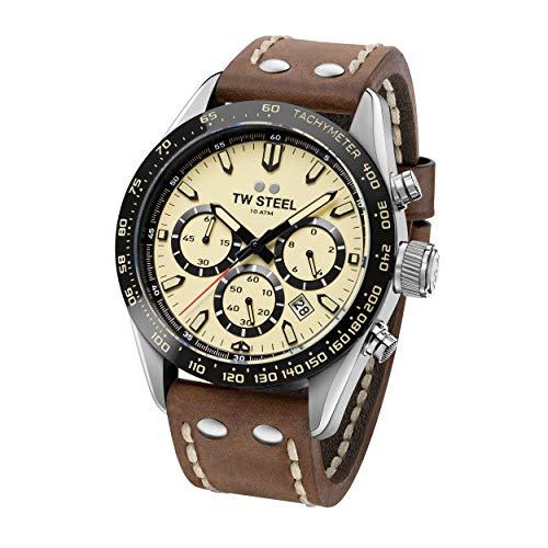 TW Steel Unisex Erwachsene Chronograph Quarz Uhr mit Leder Armband CHS2
