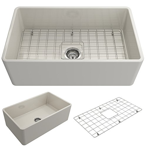 BOCCHI 1138-014-0120 Classico Apron Front Fireclay 30 in. Single Bowl Kitchen Sink with Protective Bottom Grid and Strainer in Biscuit