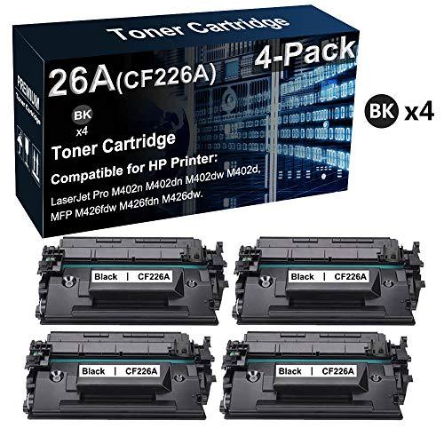 Paquete de 4 cartuchos de impresora láser 26 A CF226A compatibles con HP LaserJet Pro M402n M402dw / MFP M426fdw (negro, texto transparente)