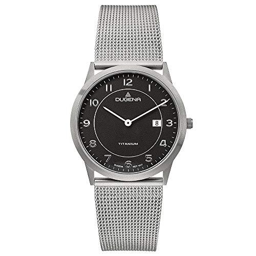 DUGENA Herren-Armbanduhr Modena XL Titan, Quarz, Titangehäuse, gehärtetes Mineralglas, Edelstahl-Milanaisearmband, Schiebeverschluß, 3 bar (schwarz)