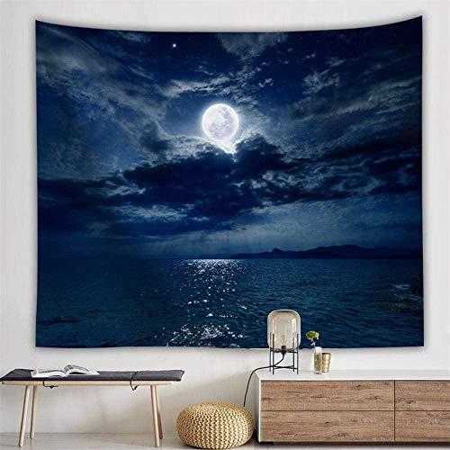 Tapiz de noche de luna, cubierta de cama, colgante de pared, tela con estampado de camping, decoración de galaxia, rectángulo, decoración del hogar, toalla redonda, playa, 150 cm X 100 cm