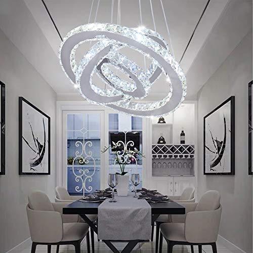 Dixun LED Modern Crystal Chandeliers 3 rings LED Ceiling Lighting Fixture Adjustable Stainless Steel Pendant Light for Bedroom Living Room Dining Room(White)