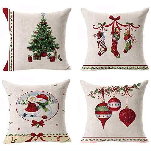Hangood Cotton Linen Throw Pillow Case Cushion Covers Christmas Tree Ball Stockings16X16 Set of 4pcs 40cm x 40cm